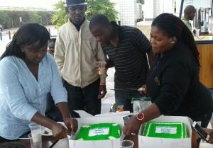 Velma Induswe, far left, is now a  multi-unit manager at international food chain Subway. Photo courtesy of Velma Induswe.